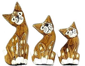 Lot de 3 gatos de madera artesanía Set pintado Wooden Cat gato Collection decoración marrón pintado: Amazon.es: Hogar