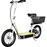 """Razor EcoSmart Metro Electric Scooter – Padded Seat, Wide Bamboo Deck, 16"""" Air-Filled Tires, 500w High-Torque Motor, Up to 18"""