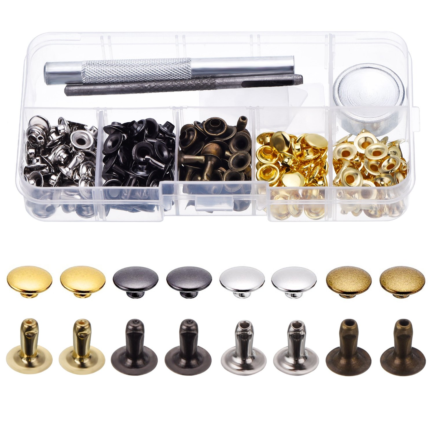 120 Set Leather Rivets Single Cap Rivets Tubular Metal Studs with Fixing Tool Kit for Leather Craft Repairing Decoration, 4 Color BBTO 4336863939