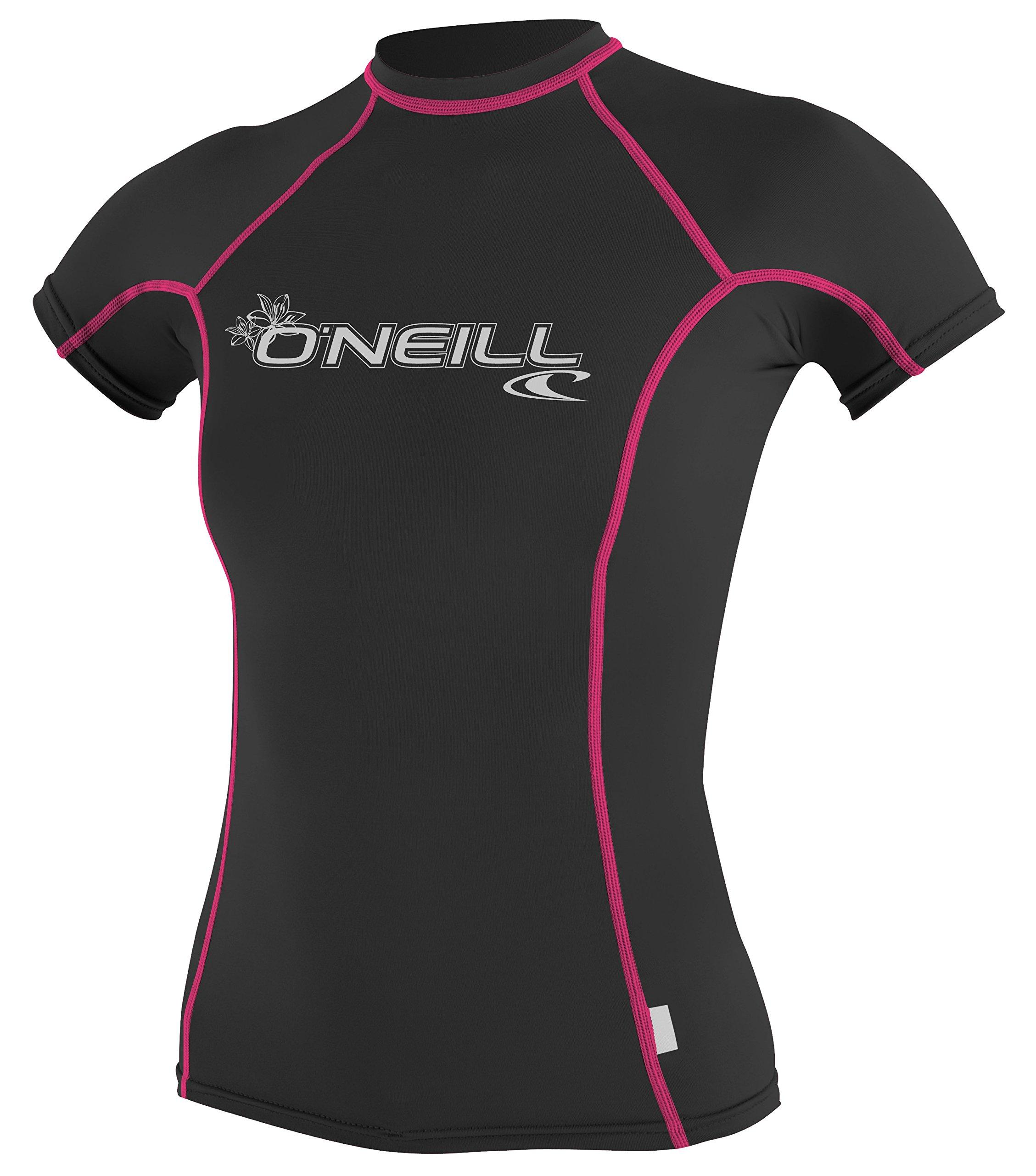 O'NEILL Wetsuits UV Women's Skins Short Sleeve Crew Sun Shirt Rash Guard, Large, Black Pink Stripe by O'NEILL