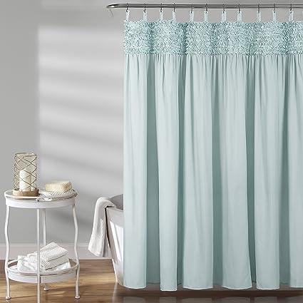 Lush Decor Spa Blue 72quot X Lydia Ruffle Shower Curtain