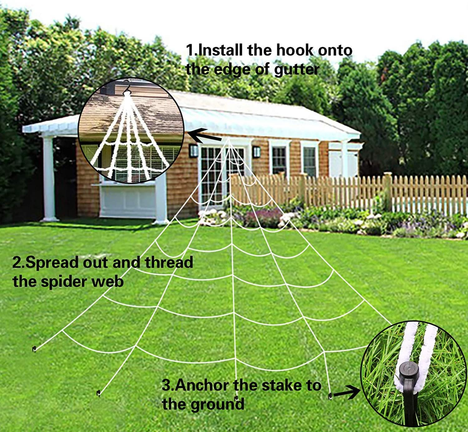 Halloween Giant Spider Web Super Stretch Cobweb Set,Halloween Trick Or Treat Party /& Home Decorations for Indoor//Outdoor Yard 0.7oz Super Stretch Cobweb Terrify Your Neighbors 23 Feet Spider Web
