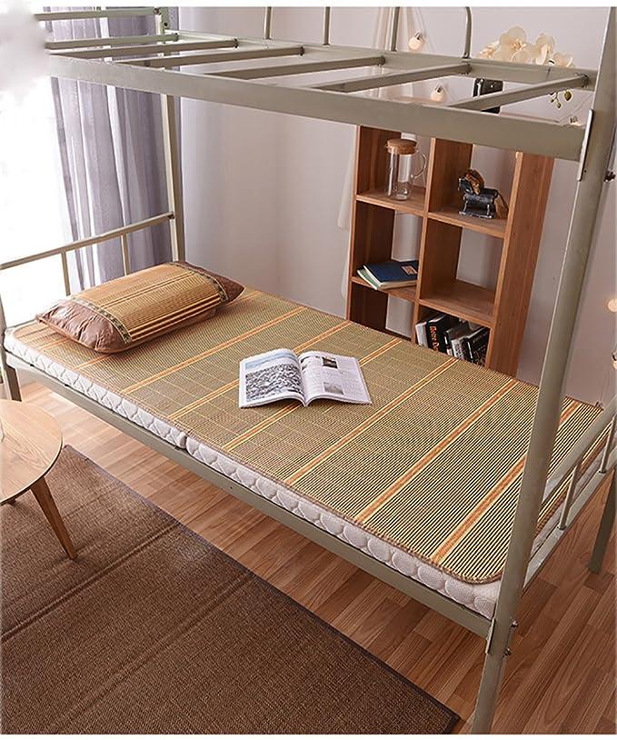 Utilisation double face tapis de lit --- Bambou Étudiant dortoir Été Tapis de nuit Ménage Haut grade Respirant Foldable Mats --- tapis de lit pliant en bambou naturel et en ro ( Couleur : B , taill