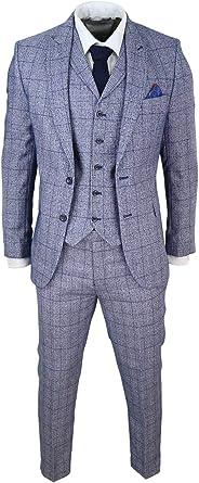 Traje Tweed de 3 Piezas Gris Azul para Hombre con Tejido ...