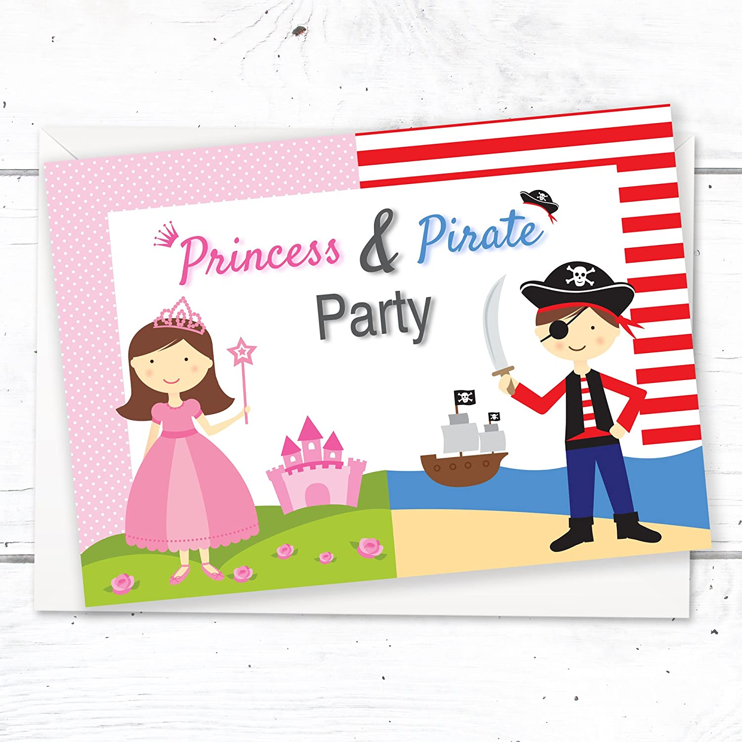 Princess & Pirate Birthday Party Invitations - Kids Fancy Dress ...