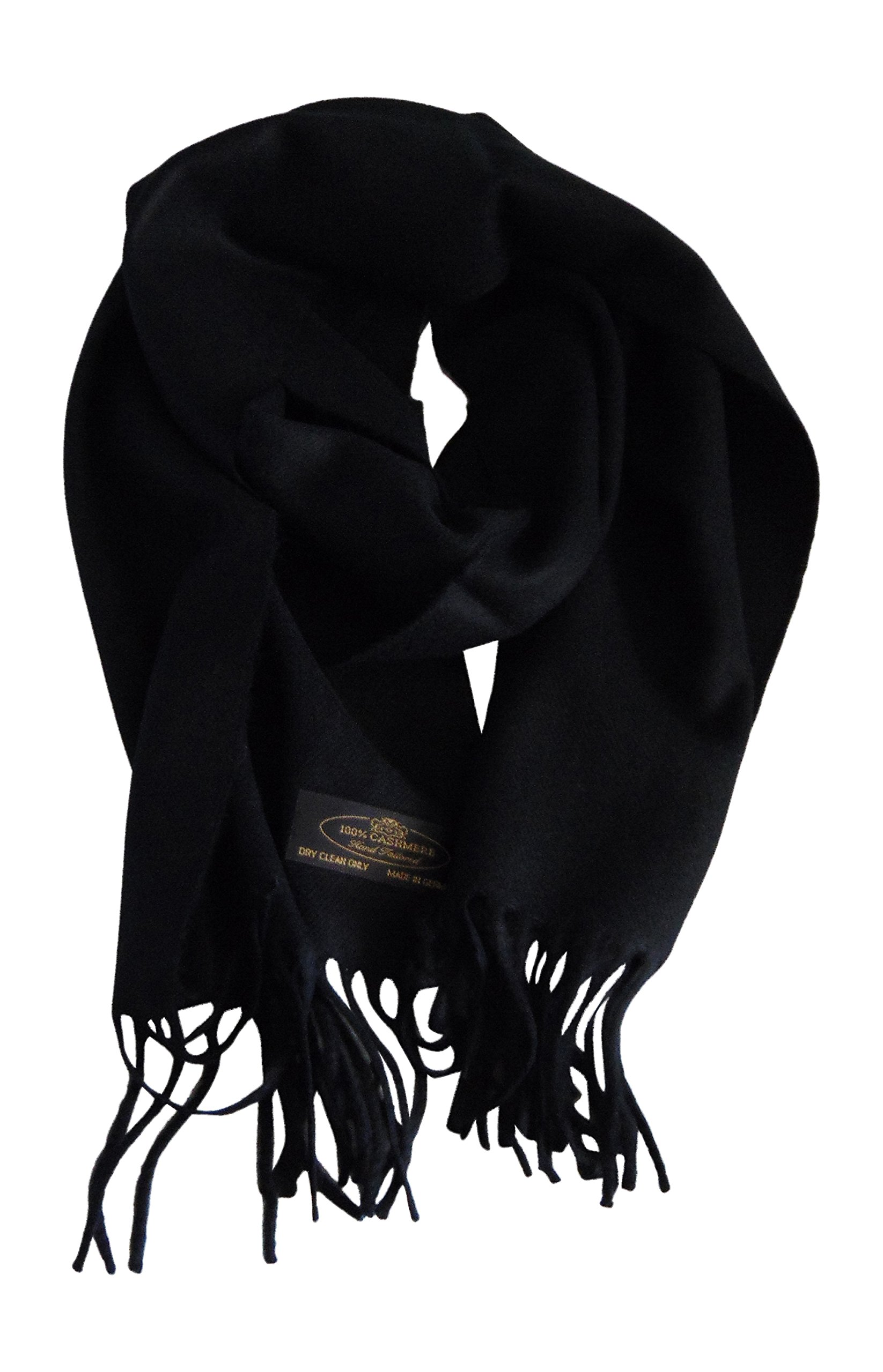 Annys Super Soft 100% Cashmere Scarf 12 X 72 with Gift Bag (Black)