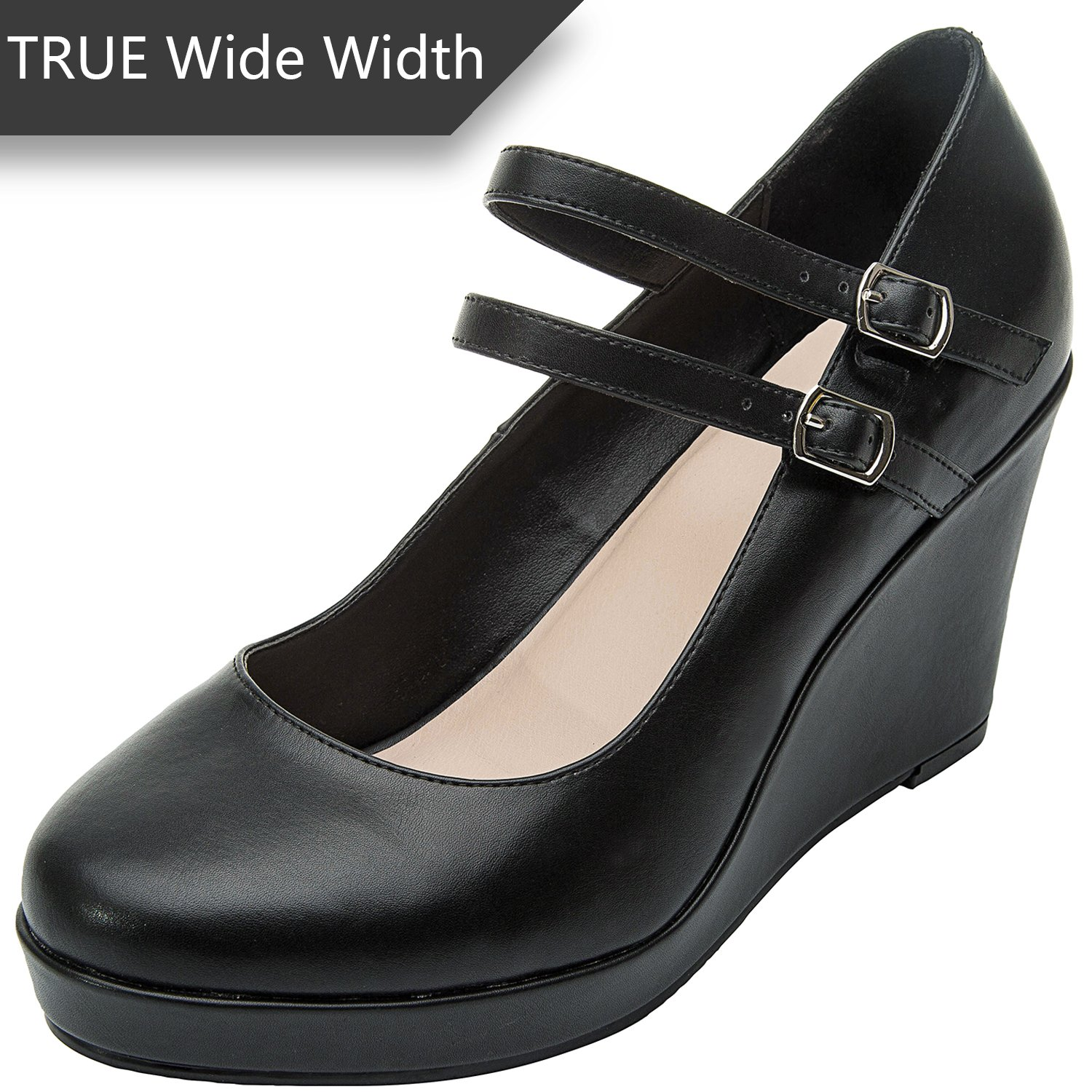 Luoika Women's Wide Width Wedge Shoes - Ankle Buckle Strap Round Closed Toe Mary Jane Shoes Heel Pump(Black 180318,10.5WW)