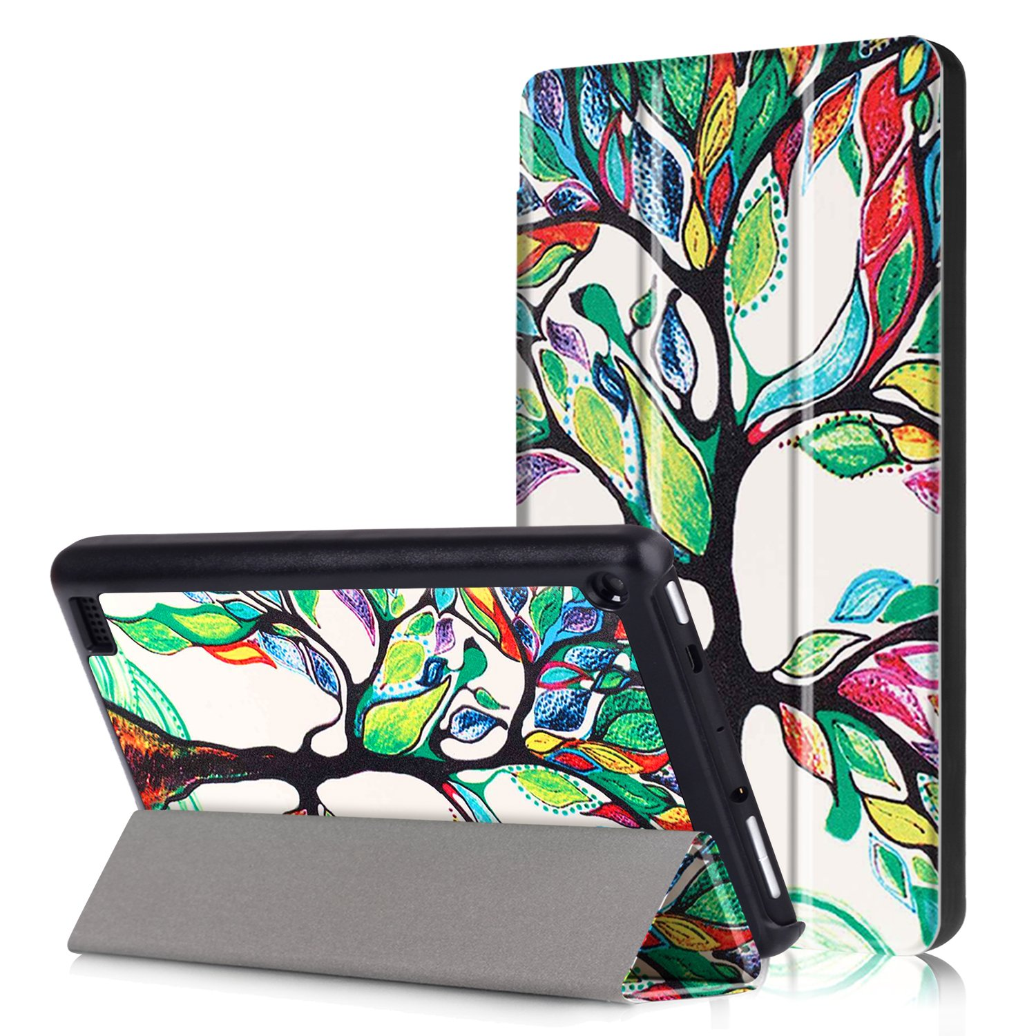 Case for All-New Amazon Fire 7 Tablet (2017 7th Generation), SAVYOU Painted Lightweight Slim Pu Leather Stand Protective Shell Cover for Fire 7 Tablet (7th Generation, 2017 Release)