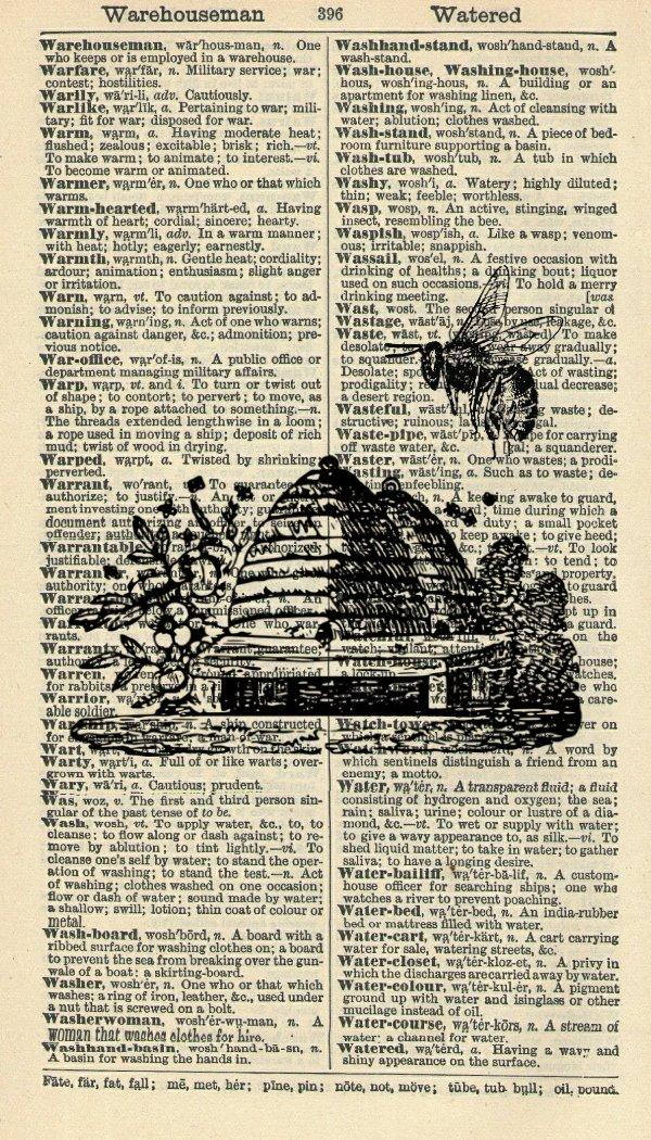 Bee Hive Art Print - Garden Art Print - Modern Art Print - Vintage Dictionary Art Print - Wall Art Print - Gift - Nature Artwork - Dictionary Page - Dictionary Art - Vintage Art - Illustration - Wall Hanging - Home Décor - Housewares - Book Print - Black