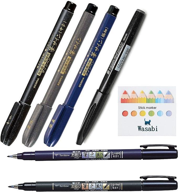 Popular, punta de pincel Juego completo/punta de pincel Tombow Fudenosuke punta suave y duro punta + artes cepillo pen-zebra, Superfine, Fine, tamaño mediano + Pentel Fude Touch Sign Pen, como Brush Stroke