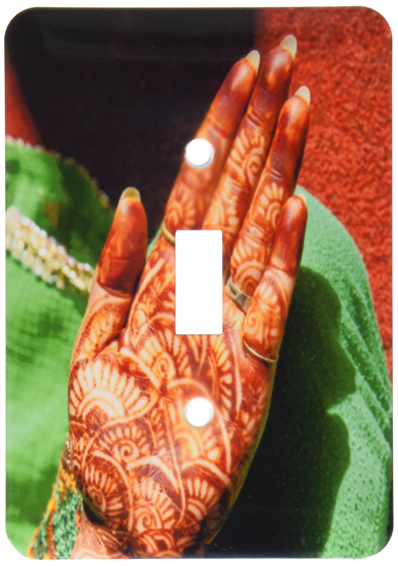 3dRose lsp_187377_1 Indian Henna Tattoo Design on Hand, Dehradun, India Single Toggle Switch