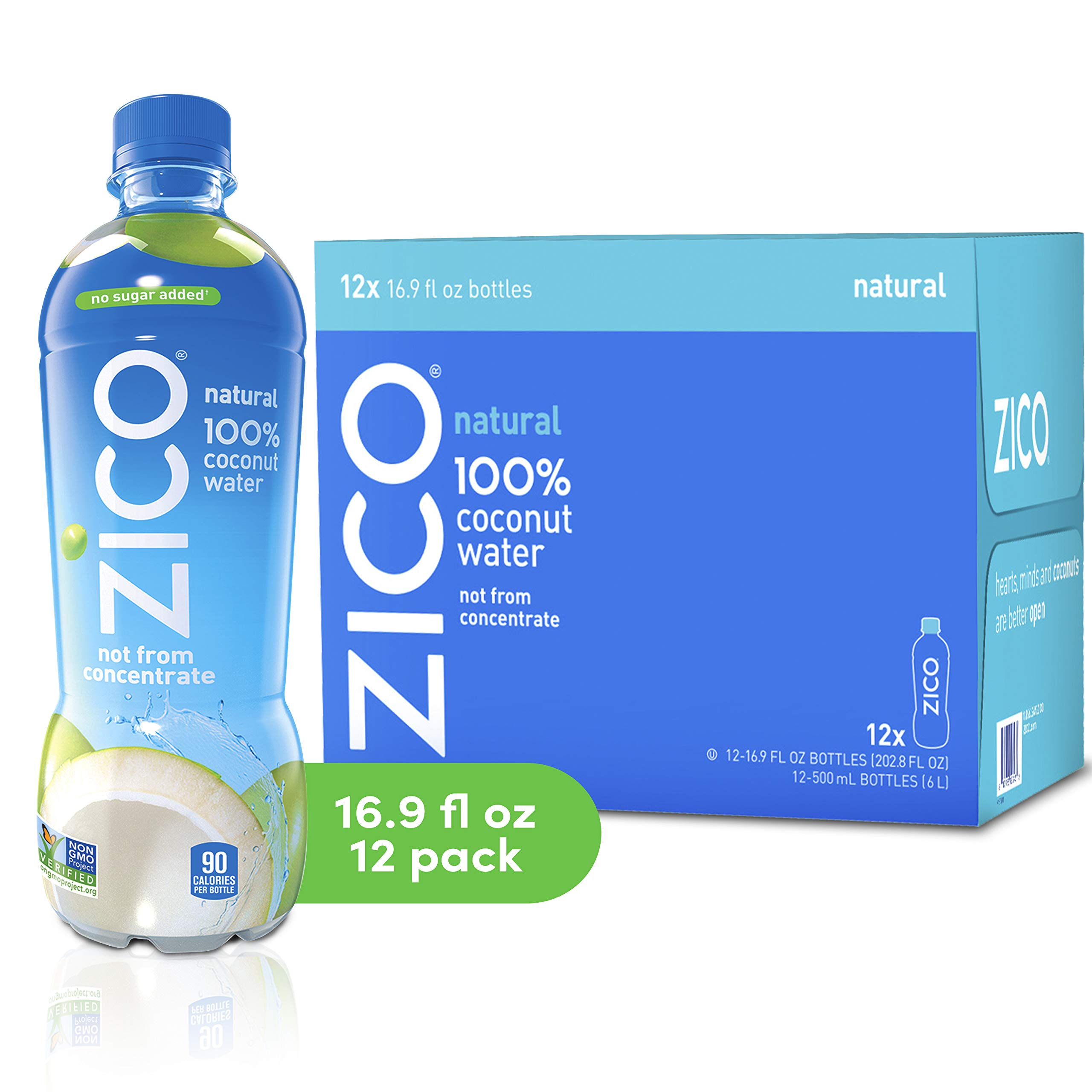 ZICO Natural 100% Coconut Water Drink, No Sugar Added Gluten Free, 16.9 fl oz, 12 Pack by Zico Beverages