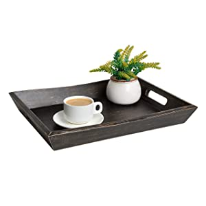 "EZDC Wooden Coffee Table Tray, Dark Brown 17 x 12"" Modern Decorative Ottoman Rustic Farmhouse Serving Tray With Handles for Tea & Liquor Display in Living Room - Pine Wood"
