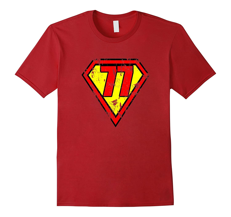 40th Birthday Distressed Look 77 Superhero T-shirt-PL