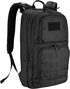 ProCase Tactical Outdoor Backpack 30L with Molle Laptop Compartment Back Panel, EDC Military Outdoors Daypack Rucksacks for Men Women Travel Hiking Riding Hunting Trekking –Black, 1000D Nylon