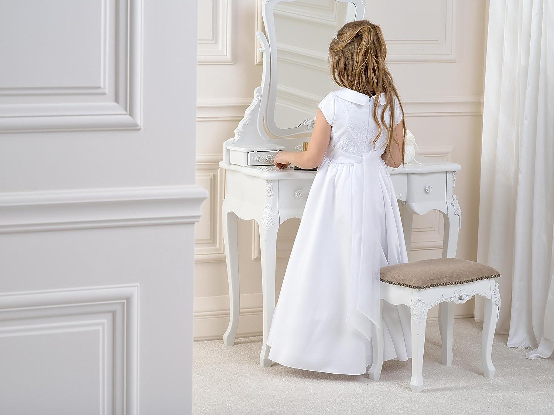 Lacey Bell Vestito Bambina Prima Comunione Damigella Raso Maiche Corte  Colletto CD-4  Amazon.it  Abbigliamento fdc80e4c9d4