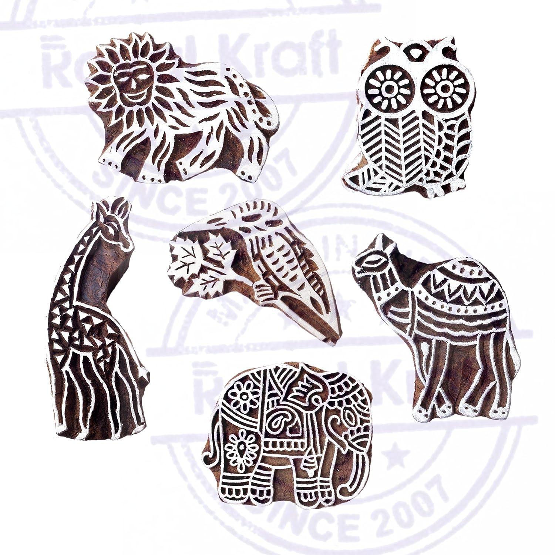 Textile Block Prints Royal Kraft Mandala Wood Stamps for Printing Scrapbook /& Clay Projects Set of 5 to Make Henna Tattoos