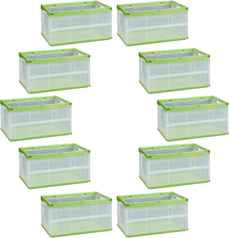 Relaxdays Pack de 10 Cajas de Almacenaje Plegables 60 L, Plástico, Transparente-Verde, 60 x 40 x 32 cm: Amazon.es: Hogar