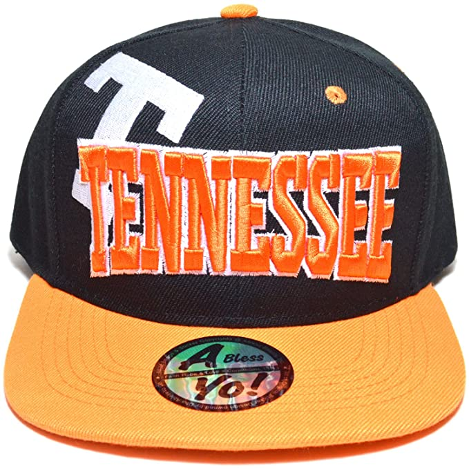 dff6f8e5884 Tennessee Embroidered Flat Visor Snapback Bill Cap Baseball Golf Hat  AYO3056 (Black Orange)