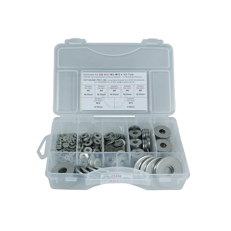 Sortiment Edelstahl A2 Karosseriescheiben DIN 9021, M3 bis M12, 305 Teile, Material: VA V2A Schrauben-Niro.de®