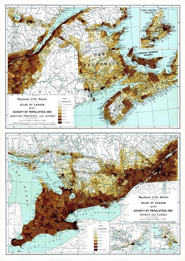 Densidad de la población en las provincias marítimas, Quebec ...