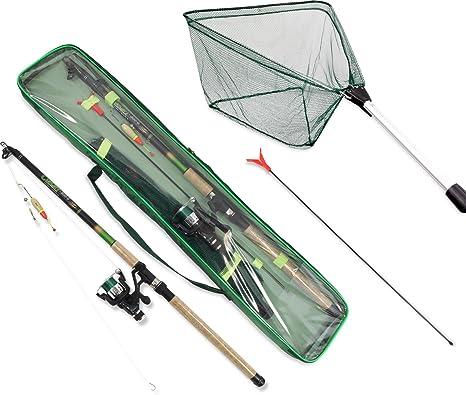 Diferentes pack de pesca, para lucio, lucioperca, carpas, anguila, trucha, perca con red y accesorios, montado, Karpfen/Aal: Amazon.es: Deportes y aire libre