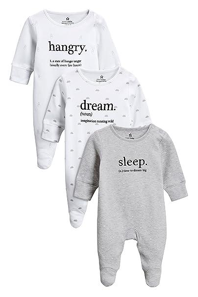 next Bebé-Niños Pack De Tres Pijamas Tipo Pelele con Eslogan (0 Meses - 2 Años) Monocromo 1.5-2 Años: Amazon.es: Ropa y accesorios
