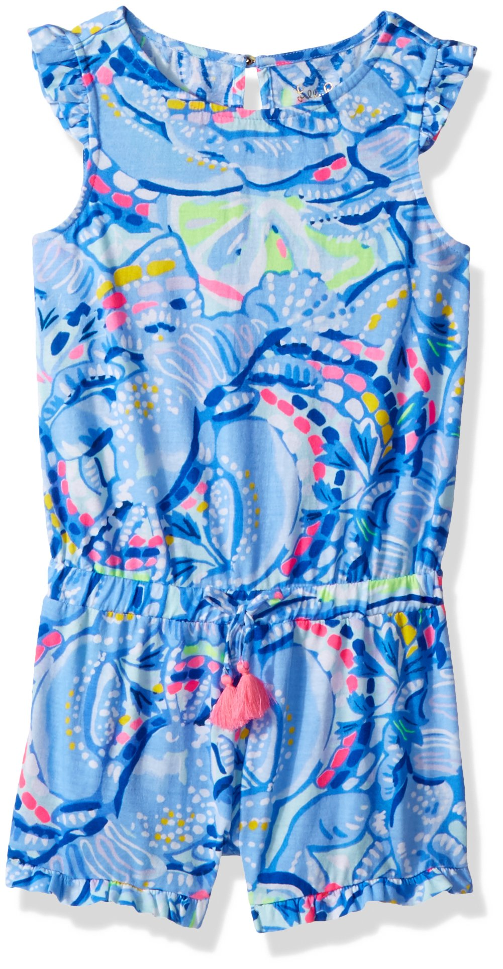 Lilly Pulitzer Girls' Little Azel Romper, Blue peri Pinch, S