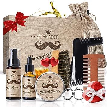 Kit Cuidado de Barba 9pcs GLAMADOR - Aceite Barba, Bálsamo, Champú ...