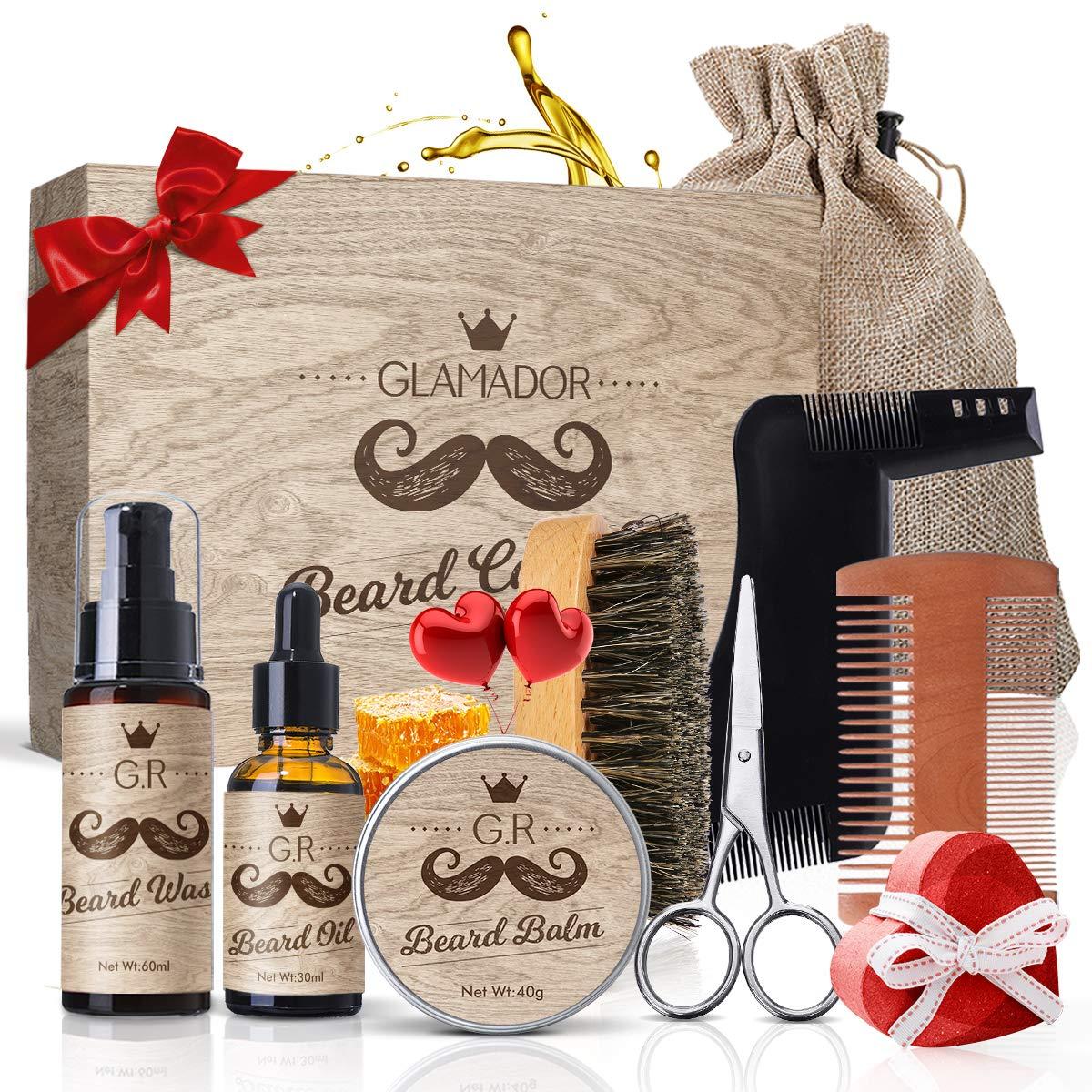 9-in-1 Beard Grooming Kits GLAMADOR Beard Trimming Set, Beard Oil Beard Balm ,Mustache & Beard Care Birthday Gift Set, Professional Beard Care Kit for Men/Dad/Husband with Beard Comb Brush