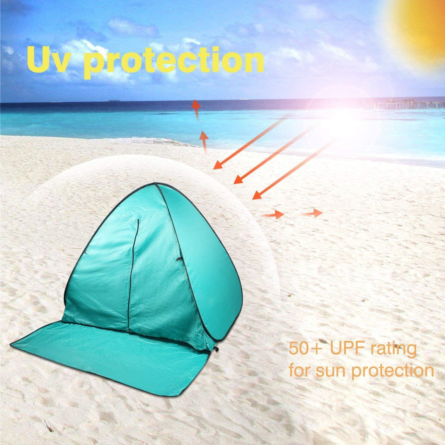 FBSPORT Beach Tent UPF 50+ Automatic Pop Up Sun Shelter Umbrella Lightweight Windproof Cabana Canopy Beach Tents Fit 2-3 Person with Carry Bag Portable Outdoor Sun Shade