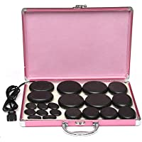 20Pcs Electric Massage Massager Volcanic Spa Hot Rock Stone Set + Heating Box