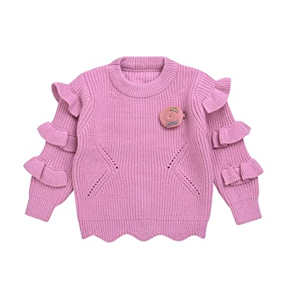 Baby Toddler Girl Christmas Sweater Pullover Long Sleeve Solid Ruffle Cardigan for 1-4Years