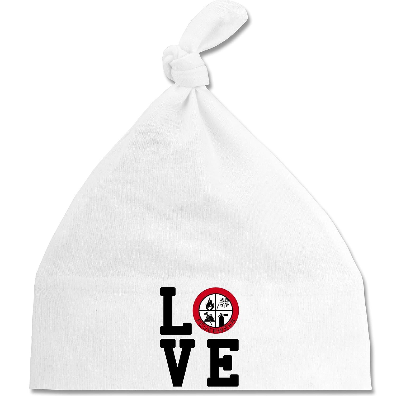 Shirtracer Feuerwehr Baby - Love Feuerwehr - Baby Mütze mit Einfachem Knoten ALS Geschenkidee BZ15