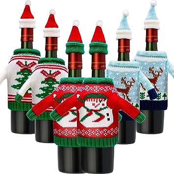 fc61bfe509d 6 Juegos de Funda de Botella de Vino de Navidad Cubierta de Botella de Vino  de