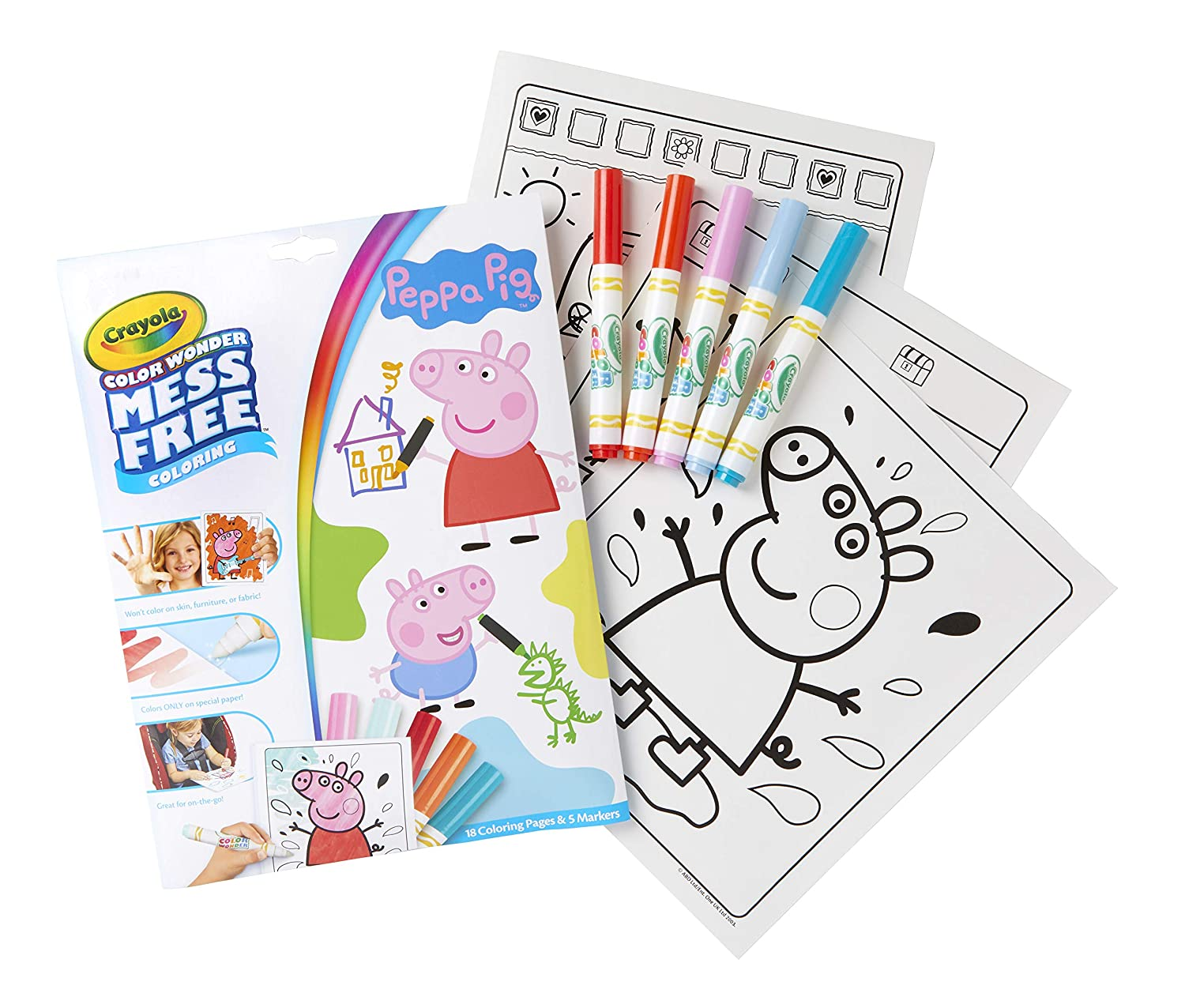 Crayola color wonder peppa pig coloring book pages markers mess free coloring gift for kids