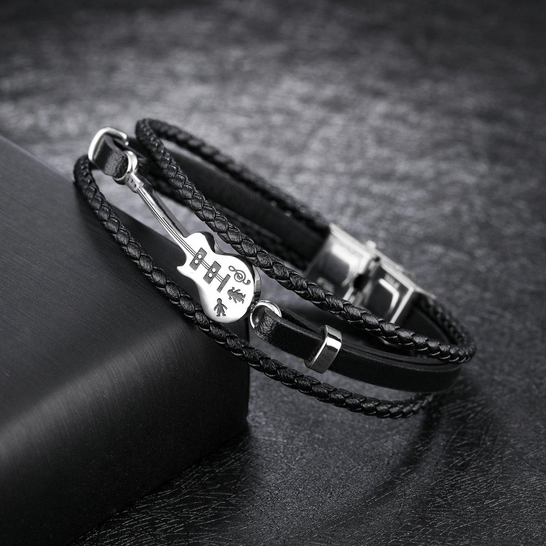 21/cm tress/é /à la main Fate Love Bracelet multi rangs en cuir de vache pour hommes avec guitare