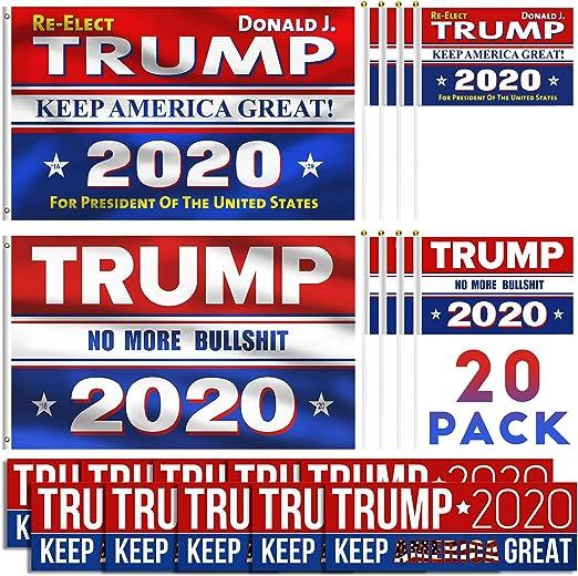 iZoel 2 Piezas Trump 2020 Bandera para Barco 3 x 5 pies + 8 Piezas ...