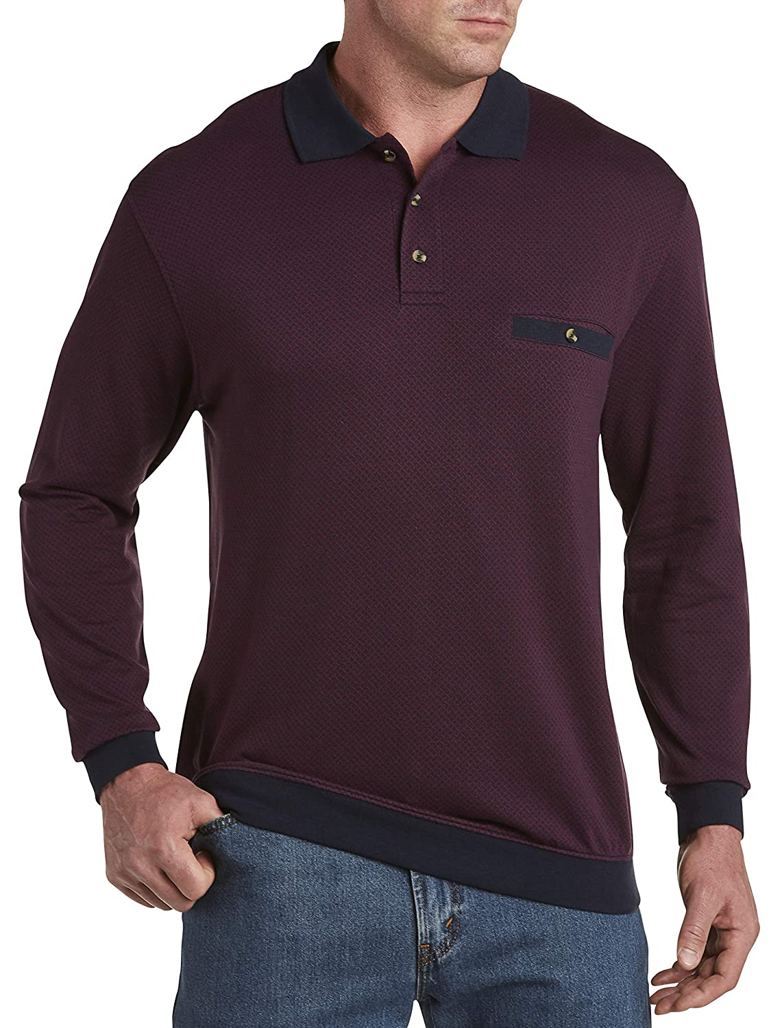 Grape Wine Harbor Bay by DXL Big and Tall Basketweave Polo Shirt