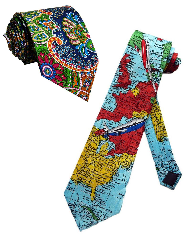 Men's Necktie Silk Polyester Travel Around Pictures Wide 3.14''(8cm) Gentleman Neck Ties Skinny by DIMANNU (Image #3)
