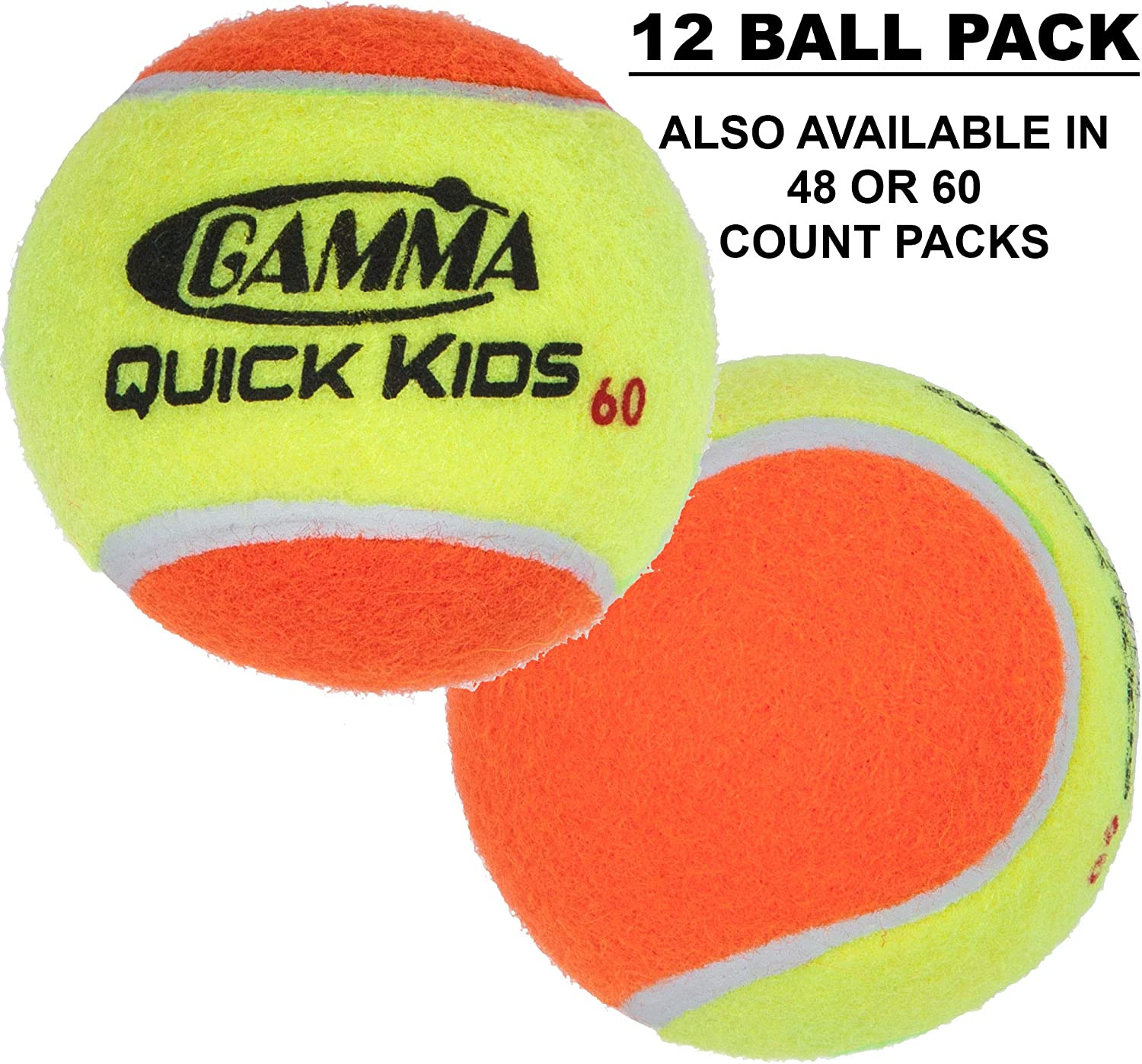 Gamma Quick Kids (Transition) Practice Tennis Balls: Red 36, Orange 60, or Green 78 Dot (25%-50% Slower Ball Speed) - 12, 36, 48, 60 Pack Sizes