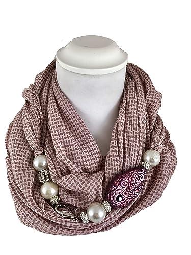 economico per lo sconto 9a7c2 8892c Sciarpa gioiello, foulard donna a fantasia, con dettaglio ...