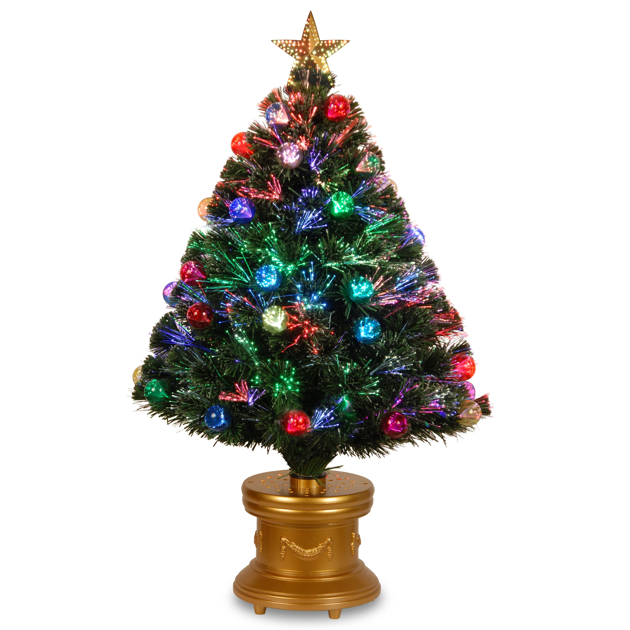National Tree 36 Inch Fiber Optic Ornament Fireworks Tree with Gold Top Star and Multicolored Lights in Gold Base (SZOX7-100L-36-1) by National Tree Company