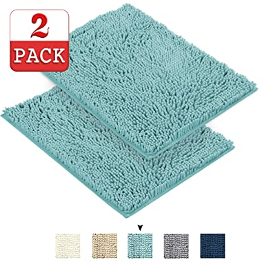 Soft Shaggy Bathroom Rugs Kitchen Rugs Microfiber Washable Water Absorbent Bath Rug Super Soft Microfiber Bathroom Rugs Non Slip Shag Bath Mat for Kitchen Bedroom, 17 x 24 , Duck Shell, Two Pack