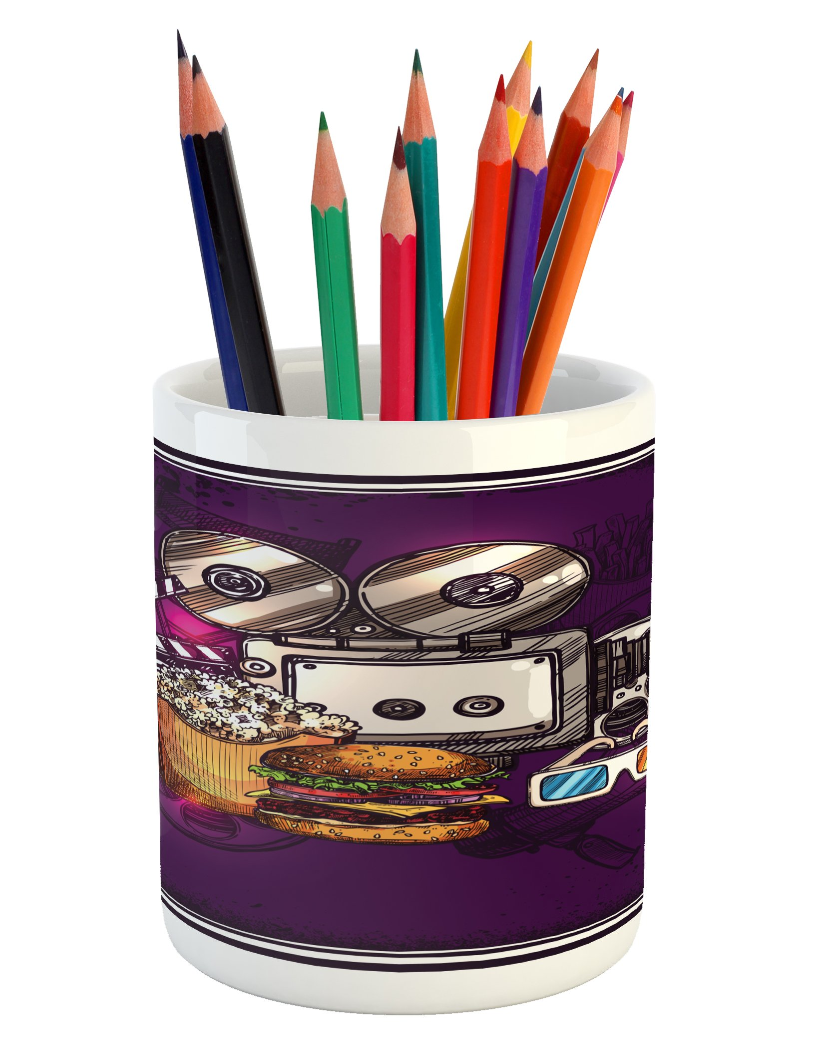 Ambesonne Modern Pencil Pen Holder, Cartoon like Cinema Movie Image Burgers Popcorns Glasses Watching Film, Printed Ceramic Pencil Pen Holder for Desk Office Accessory, Purple Earth Yellow