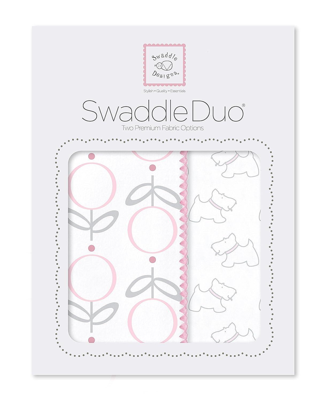 juego de 2 SwaddleDesigns Muselina Swaddling Mantas//Premium algod/ón franela rosa Little Doggie