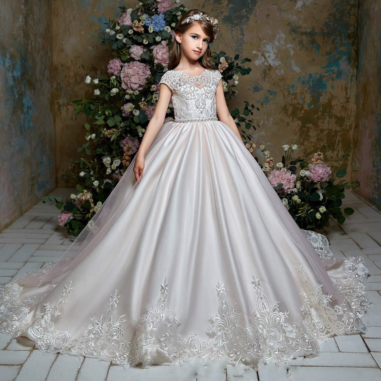 3e94c3f714fac Filles Longue Robe De Princesse De Fleur De Fille De Concours De Demoiselle  De Mariée De Partie (Blanc