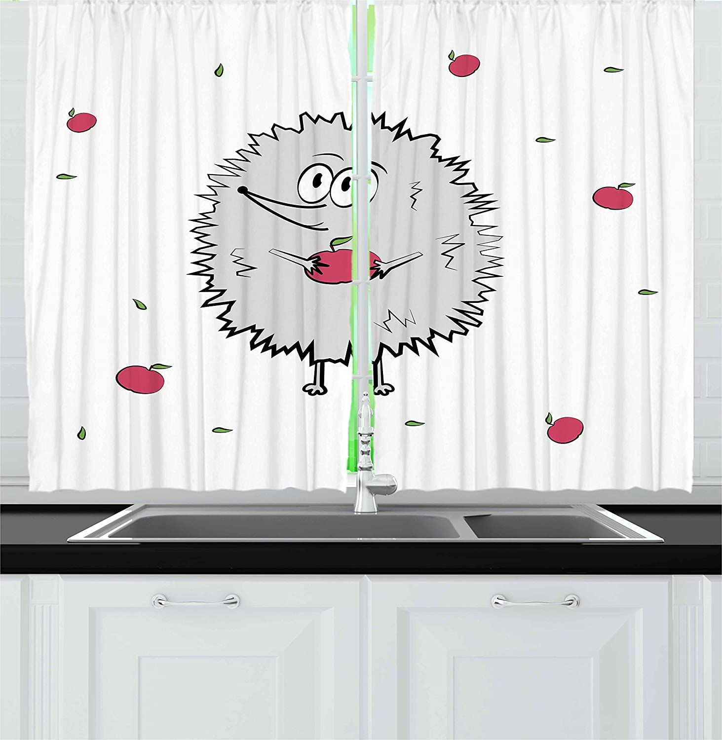 Amazon Com Ambesonne Hedgehog Kitchen Curtains Happy Animal Apples And Leaves Doodle Style Cartoon Drawing Fun Illustration Window Drapes 2 Panel Set For Kitchen Cafe Decor 55 X 39 Grey Pink Green Home