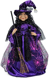 "18"" Violet & Black Tabletop Fabric Halloween Fall Harvest Witch Collectible Figure Figurine 918002"