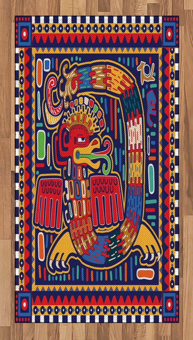 Lunarable Mexican Area Rug, Aztec Culture Pattern Ethnic Colorful Mythology Artwork Ancient Snake, Flat Woven Accent Rug for Living Room Bedroom Dining Room, 2.6 x 5 FT, Indigo Mustard Orange